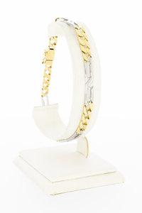 14 Karaat bicolor gouden  gewalste Gourmet armband - 22,5 cm