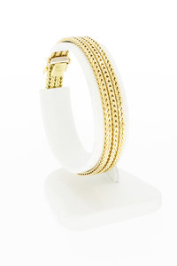 14 karaat geel gouden gevlochten schakel armband - 18,5 cm