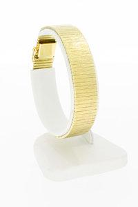 14 Karaat brede gouden plaatjes schakelarmband - 18,5 cm