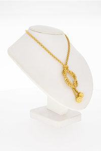 """18 Karaat gouden """"Popcorn"""" Collier met Knoop - 45,5 cm"""