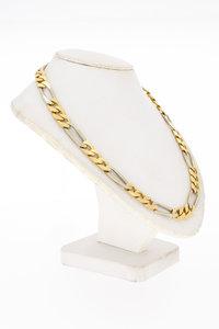 14 Karaat bicolor gouden Figaro schakelketting - 60 cm