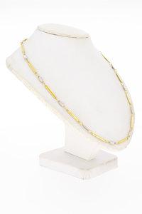 14 Karaat bicolor gouden Fantasie ketting - 43 cm
