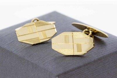 14 karaat geel gouden gefigureerde manchetknopen