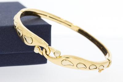 18 Karaat bewerkte bicolor gouden Slavenarmband