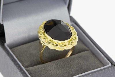 14 Karaat geel gouden Retro ring met Granaat - 17,9 mm