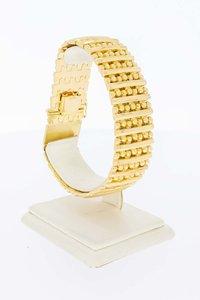 18 Karaat geel gouden brede Spijltjes armband - 20,5 cm