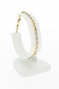 14 karaat bicolor gouden Valkoog schakel armband- 19,5 cm