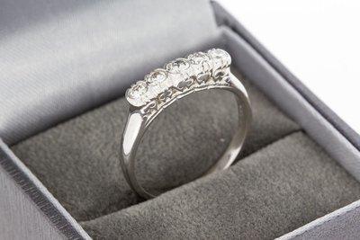 14 Karaat gouden aanschuifring gezet met Diamant- 0.5 crt
