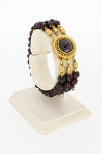 3- Rijige vintage Granaten armband met siersluiting - 17 cm