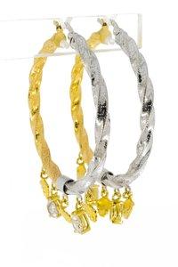 Bicolor gouden wokkel Creolen
