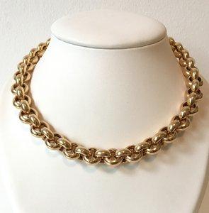 14 K Gouden Jasseron Slotcollier - 46 cm