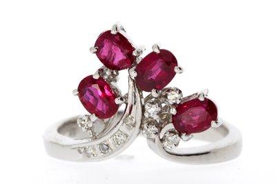 18 Karaat witgouden Ring gezet met Diamant en Robijn