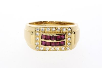 18 Karaat geelgouden Bandring gezet met Robijn & Diamant