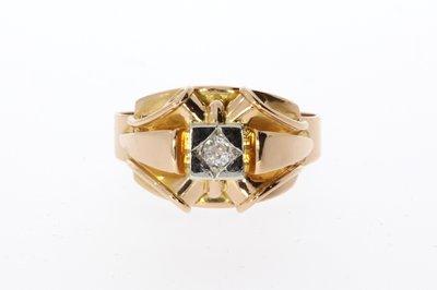 18 K Rosé Gouden Ring met Diamant