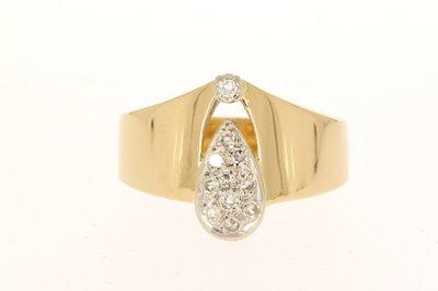 18 Karaat geelgouden Ring gezet met Diamant (0.11 crt)