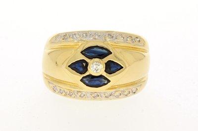 18 Karaat gouden Band Ring met Saffier & Diamant - 17,5 mm