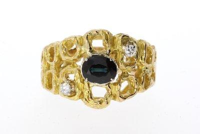 18 Karaat gouden Ring gezet met Saffier en Diamant
