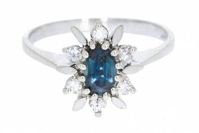 18 Karaat witgouden Ring gezet met Diamant & Saffier