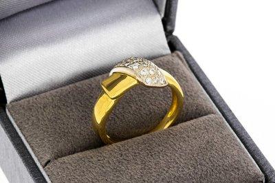 18 karaat bicolor gouden ring gezet met Diamant (0.12 Crt.)