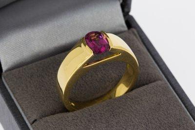 18 karaat geel gouden ring met roze Topaas - 19 mm