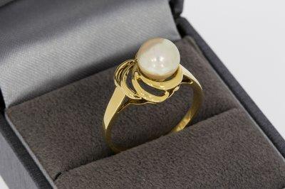 18 karaat gouden ring met Parel & Diamant - 18 mm