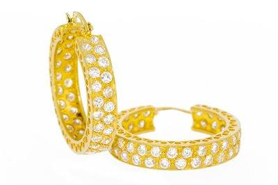 14 K Gouden Creolen met Zirkonia