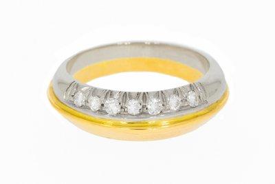 18 Karaat bicolor gouden Bandring gezet met Diamant