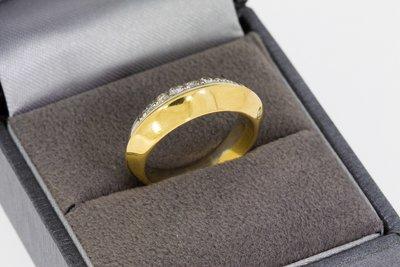 18 Karaat bicolor gouden Bandring met Diamant - 16,5 mm