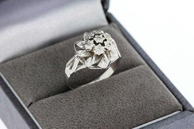 18 Karaat witgouden Rozetring gezet met Diamant