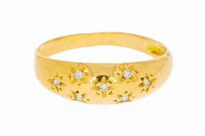 18 Karaat geelgouden Fantasie Bandring gezet met Diamant