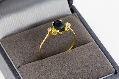 18 Karaat geelgouden Fantasie Ring met Saffier & Diamant