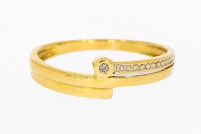 18 karaat geelgouden Slagring gezet met Diamant
