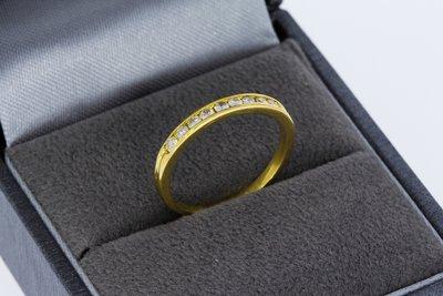 18 Karaat gouden Aanschuifring gezet met Diamant- 15,5 mm