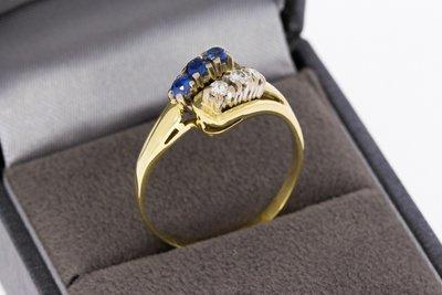 14 Karaat gouden Slagring met Saffier & Diamant - 19,2 mm