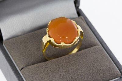 14 karaat gouden vintage Ring gezet met Carneool - 17,4 mm