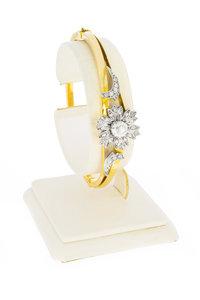 14 Karaat bicolor gouden Slavenarmband gezet met Diamant