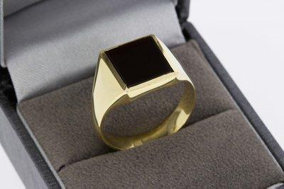 14 karaat geel gouden Zegelring gezet met Onyx - 19,5 mm