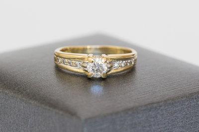 18 karaat bicolor gouden ring met 0,35 crt Diamant