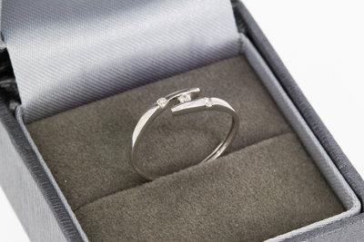 18 karaat witgouden Slagring met Diamant - 16,4 mm