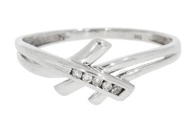 18 Karaat witgouden Slagring gezet met Diamant