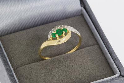 18 Karaat Bicolor gouden ring gezet met Smaragd (16,3 mm)