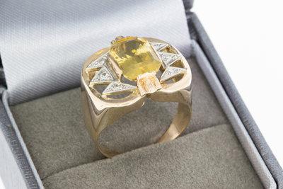 14 Karaat bicolor gouden ring gezet met Citrien & Diamant