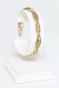 14 karaat gouden dubbele Platte Vossenstaart armband- 19 cm