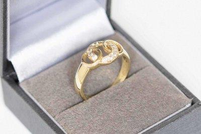 14 K gouden fantasie ring met Zirkonia