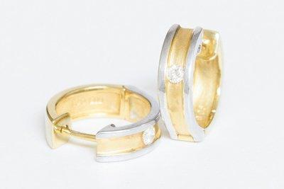 14 Karaat bicolor gouden Creolen gezet met Diamant