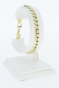 14 Karaat geelgouden gewalste Gourmet armband- 19,5 cm