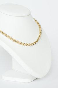 14 K gouden Jasseron slotcollier met versierde karabijnsluiting