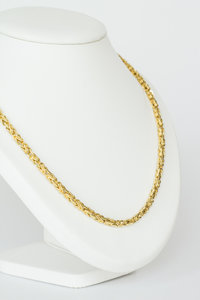 18 K gouden koningsketting -byzantijns vierkant -61 cm