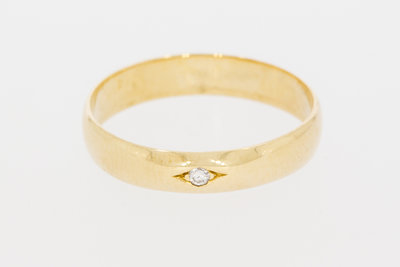 14 Karaat gouden Solitair ring gezet met Diamant - 18,5