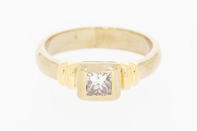 18 karaat gouden Solitair ring gezet met Diamant - 16,9 mm